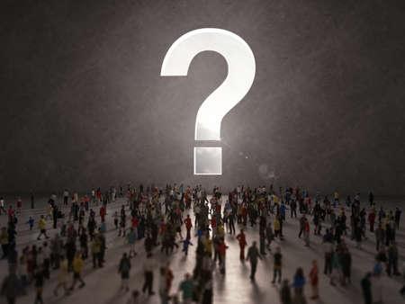People with questions. 3D Rendering Standard-Bild