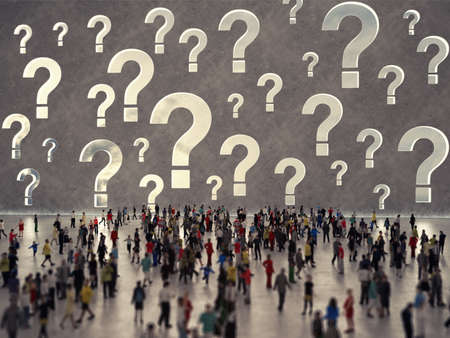 People with questions. 3D Rendering Stock Photo
