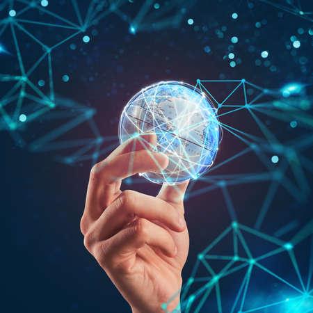 Manage global internet communication Stock Photo