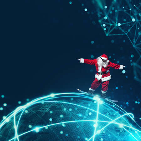Santa Claus with fast internet