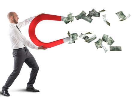 Biznesmen przyciąga pieniądze Zdjęcie Seryjne