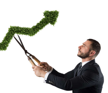 Businessman that cuts and adjusts a plant shaped like an arrow stats. Concept of startup company . 3D Rendering Standard-Bild