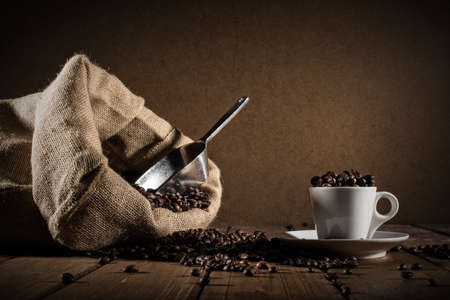 Background of cup of coffee beans