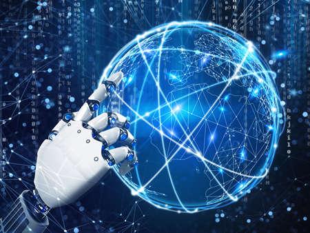 Zukunftsvision einer Roboterhand Wiedergabe 3d