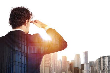 Businessman looks far for the future 版權商用圖片 - 90957955