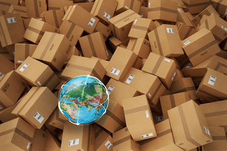 Stack of closed cardboard boxes. 3D Rendering Stock Photo