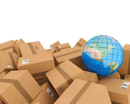 Stack of closed cardboard boxes. 3D Rendering Foto de archivo