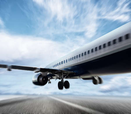 Aircraft taking off on a runway Stock Photo