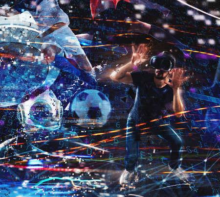 Jongensspel met videospelletjes met virtuele glazen