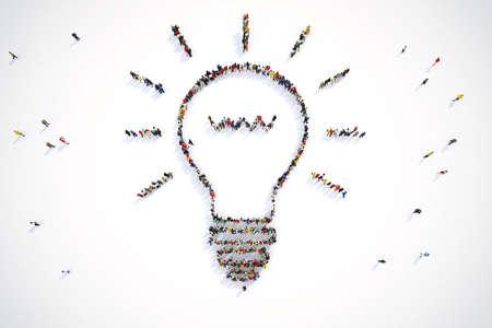 사람들의 3D 렌더링 전구 빛을 형성