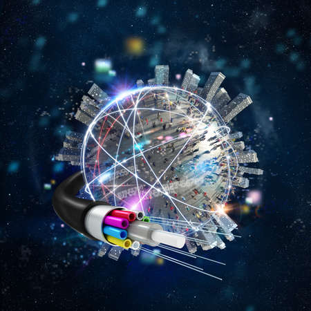 Fast internet worldwide connection with the optical fiber Stock Photo