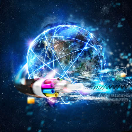 Fast internet worldwide connection with the optical fiber 스톡 콘텐츠