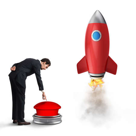 Businessman launches rocket pushing a red button. 3D Rendering Archivio Fotografico