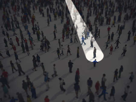 Identify in the crowd. 3D Rendering