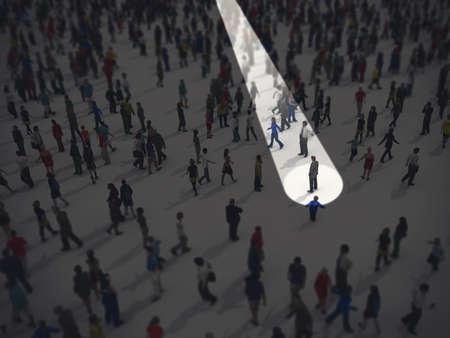 Zidentyfikuj się w tłumie. Renderowanie 3D Zdjęcie Seryjne