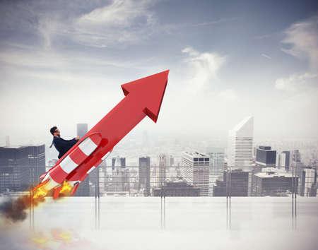 Take-off successo aziendale. Rendering 3D Archivio Fotografico