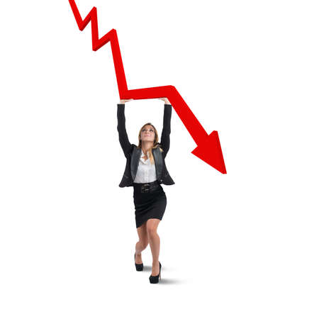 Businesswoman helps statistics Standard-Bild