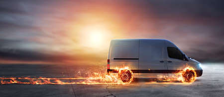 Super fast delivery of package service with van with wheels on fire Stockfoto
