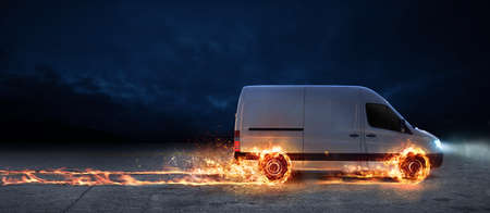 Super fast delivery of package service with van with wheels on fire 版權商用圖片
