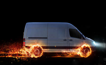 Super fast delivery of package service with van with wheels on fire Banque d'images