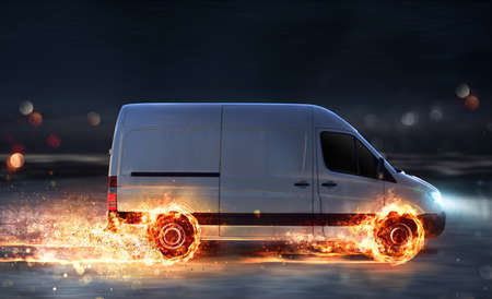 Super fast delivery of package service with van with wheels on fire Archivio Fotografico