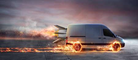 Super fast delivery of package service with van with wheels on fire 免版税图像