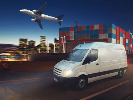 Fast van on road delivering at night with cargo and airplane in background. 3D Rendering Standard-Bild