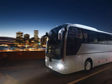 Bus on the road at night with city landscape. 3D rendering