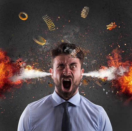 explosion de la tête d & # 39 ; un concept d & # 39 ; affaires de stress qui se chevauchent Banque d'images