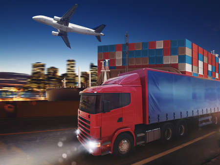 Fast truck on road delivering at night with cargo and airplane in background. 3D Rendering