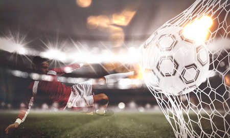 Background of a soccer ball scores a goal on the net. 3D Rendering Archivio Fotografico