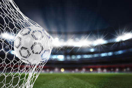 Soccer ball scores a goal on the net. 3D Rendering 版權商用圖片 - 96587485