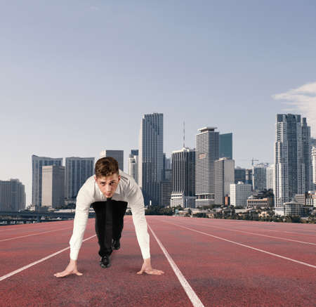 Businessman acts like a runner. Competition and challenge in business concept Stock Photo