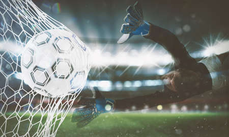 Background of a soccer ball scores a goal on the net. 3D Rendering Reklamní fotografie