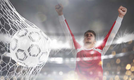 Background of a soccer ball scores a goal on the net. 3D Rendering Stock Photo