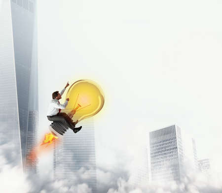 Businessman rides a bulb light to the sky. 3D Rendering