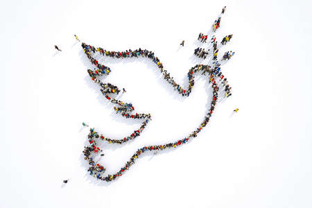 Many people together in a pigeon shape. 3D Rendering