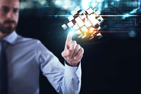 Innovation in the digital world. Businessman pointing at abstract cubes shines. 3D Rendering Stock fotó