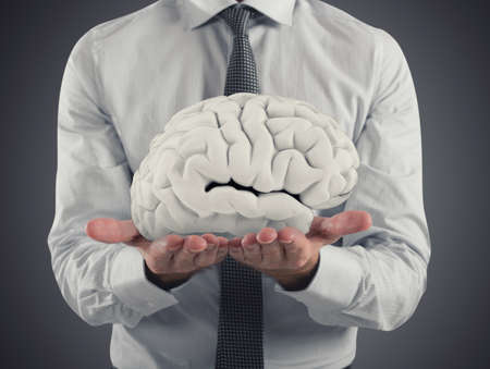 Man protects a brain with his hands. 3D Rendering