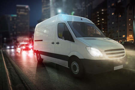 Fast van on a city road delivering at night. 3D Rendering Standard-Bild