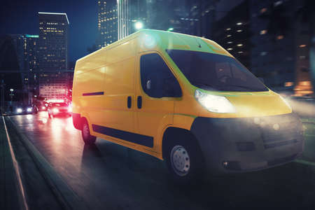 Fast van on a city road delivering at night. 3D Rendering Stock Photo