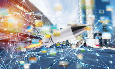 Rocket fly fast with internet connection network background. concept of startup and growing company Stock Photo
