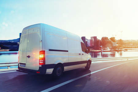Van run fast on the highway to deliver. 3D Rendering