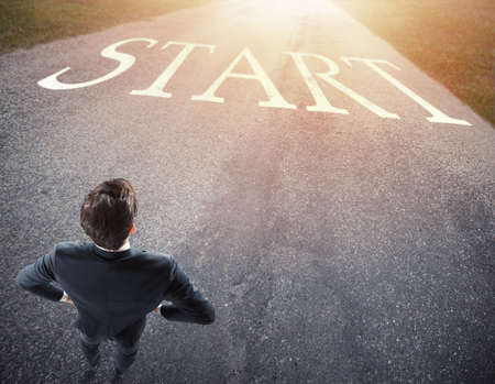 Businessman ready to follow a new way. concept of start a new career. Stock Photo