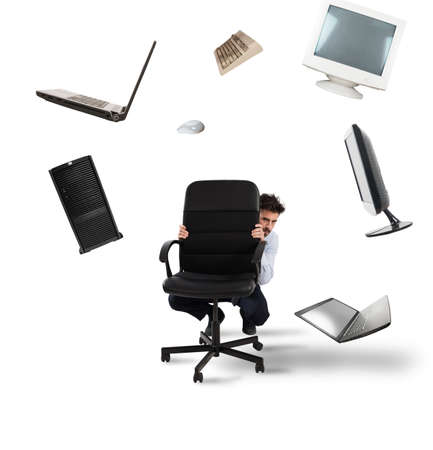 Businessman has fear of computers and technology Stok Fotoğraf - 101090240