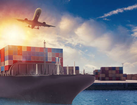 Cargo ship and airplane at the port ready to travel with packages. 3d rendering