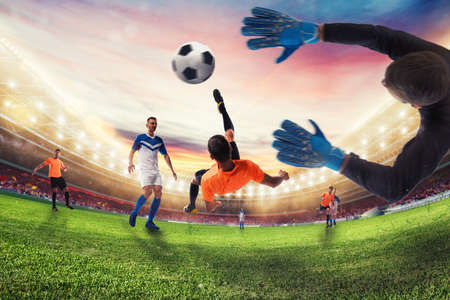 Soccer striker hits the ball with an acrobatic bicycle kick. 3D Rendering Stock Photo