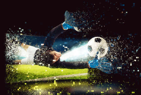Pixelated image of a goalkeeper who try to catch the ball Banque d'images - 102368580