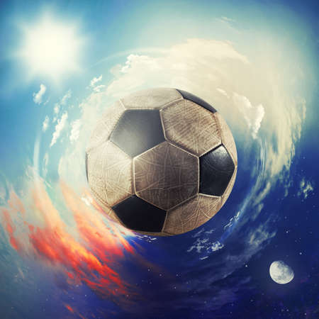 Global view of soccer world. football ball as a planet Imagens