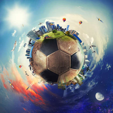 Global view of soccer world. football ball as a planet Stock Photo